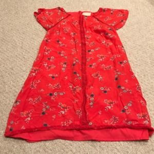 Modcloth red floral a line shift dress eyelet lace